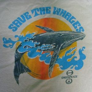 Vintage Greenpeace - Save The Whales T-Shirt, S